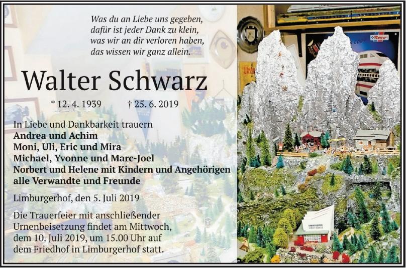 Traueranzeige von  Walter Schwarz