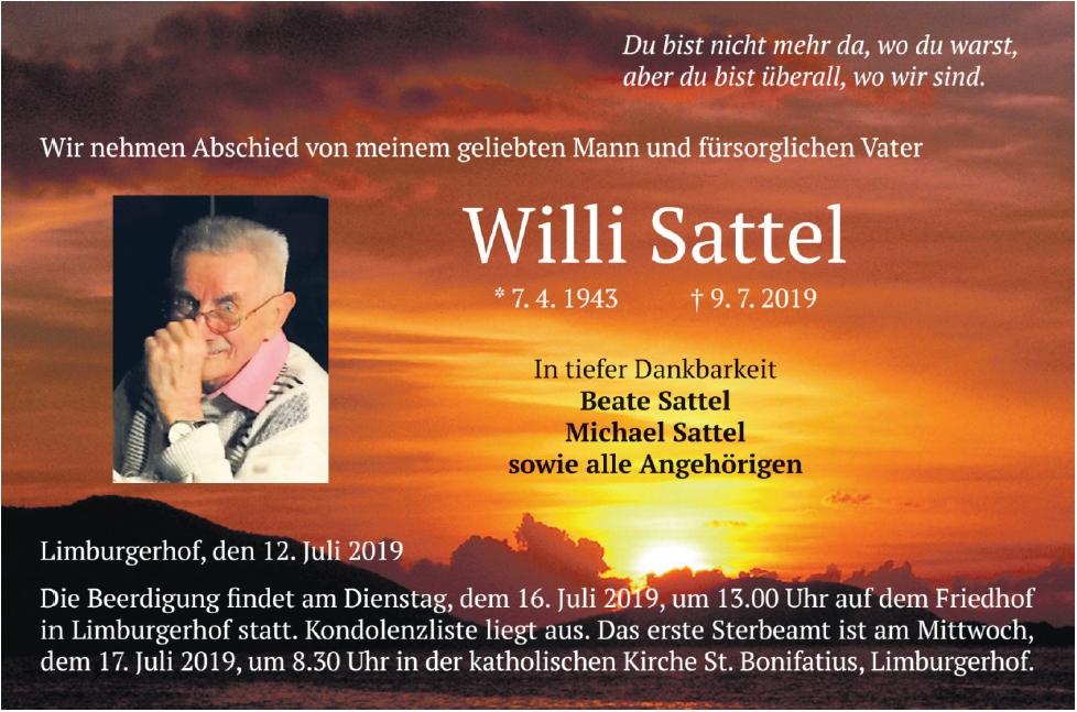 Traueranzeige von  Willi Sattel