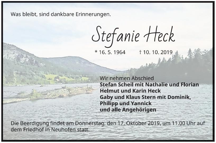 Traueranzeige von  Stefanie Heck