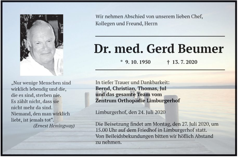 Traueranzeige von Dr. med. Gerd Beumer
