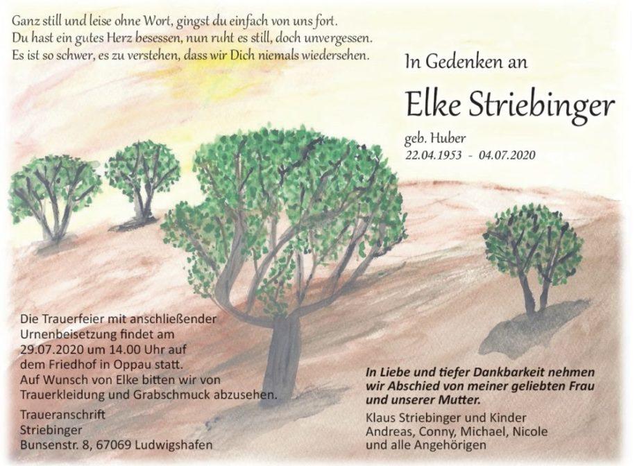 Traueranzeige von  Elke Striebinger