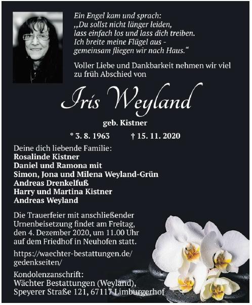 Traueranzeige von  Iris Weyland