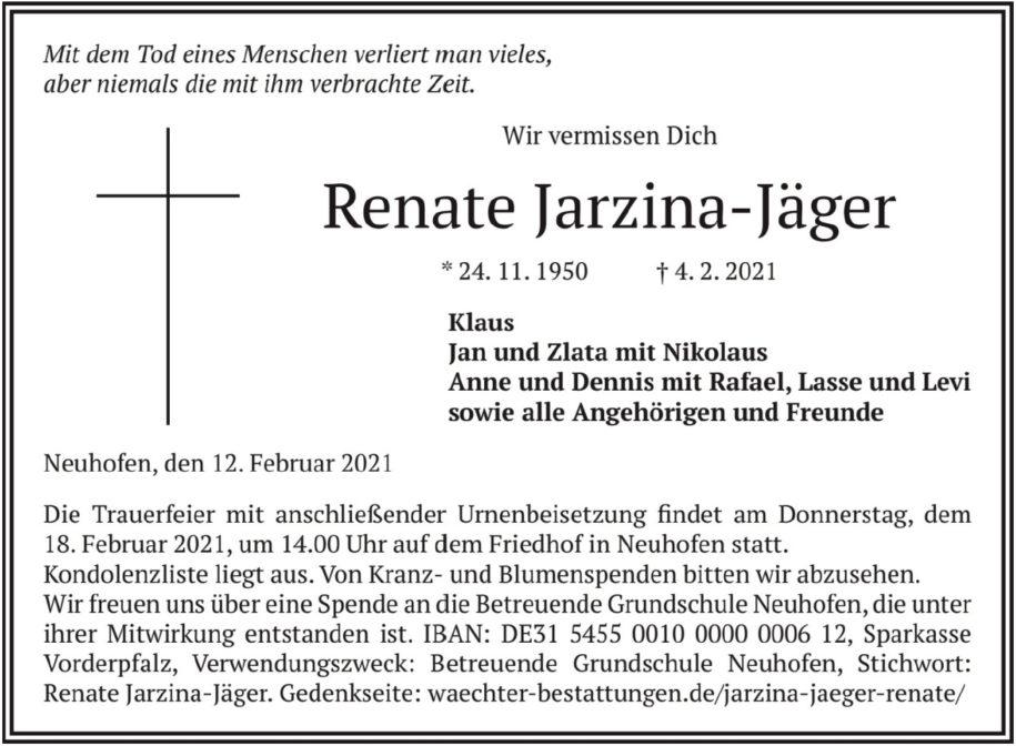 Traueranzeige von  Renate Jarzina-Jäger