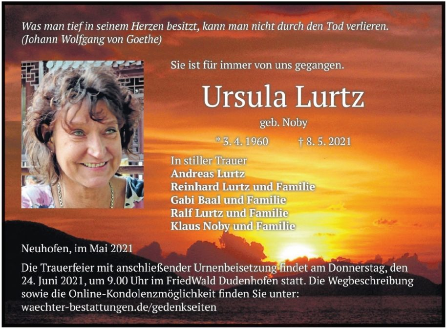 Traueranzeige von  Ursula Lurtz