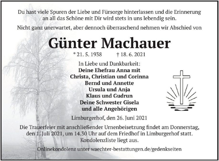 Traueranzeige von  Günter Machauer