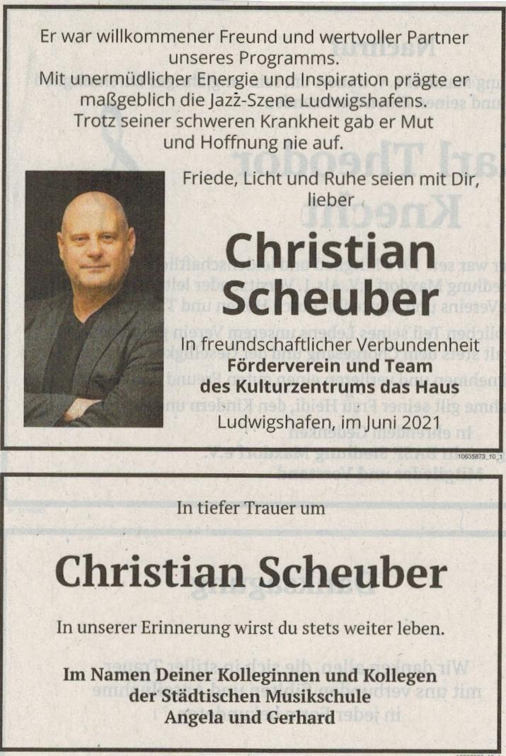 Traueranzeige von  Christian Scheuber
