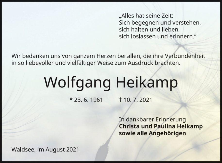 Traueranzeige von  Wolfgang Heikamp